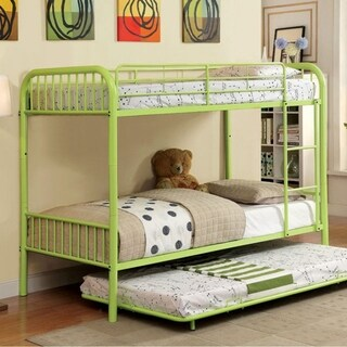 Rainbow Contemporary Twin/Twin Bunk Bed, Apple Green
