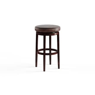 Porch & Den Lynnly Backless Brown Bar Stool with Swivel Seat