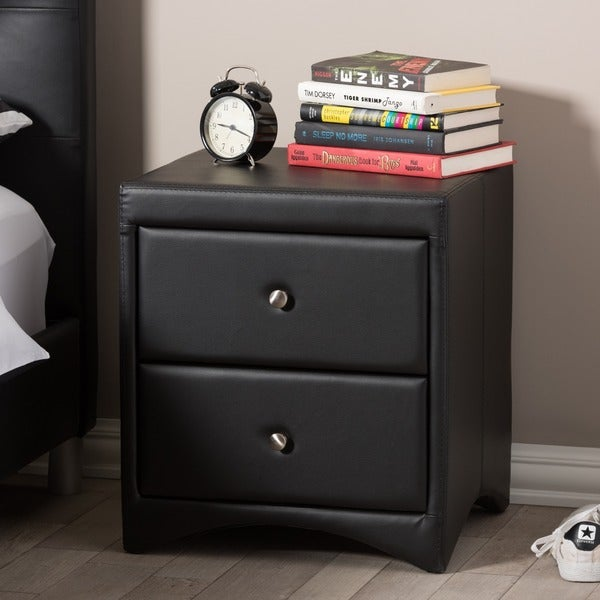 Baxton Studio Dorian Black Faux Leather Upholstered Modern Nightstand
