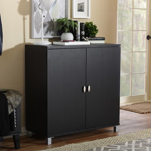 Porch & Den Sunrise Dark Brown Wood Storage Sideboard Cabinet