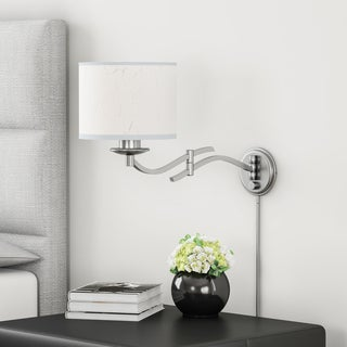 Porch & Den Spenard McRae 1-light Brushed Nickel Swing Arm Pin-up Plug-in Wall Lamp