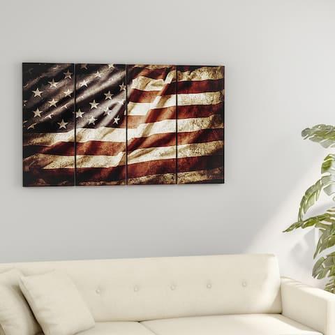 Carbon Loft 'American Flag' 4-panels Contemporary Canvas Art Print
