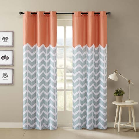 Porch & Den Dooley Chevron Printed Grommet Top Curtain Panel Pair