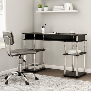 Convenience Concepts Designs2Go Black Plastic, Steel, Wood No Tools Student Desk (More options available)