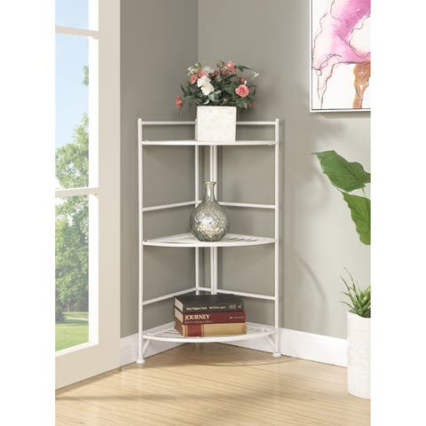 Porch & Den Ferdinand 3-tier White/ Black Metal Folding Corner Shelf