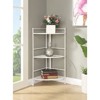 Porch & Den Bywater Ferdinand 3-tier White/ Black Metal Folding Corner Shelf