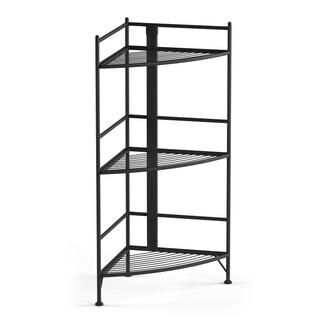 Porch & Den Bywater Ferdinand 3-tier White/ Black Metal Folding Corner Shelf