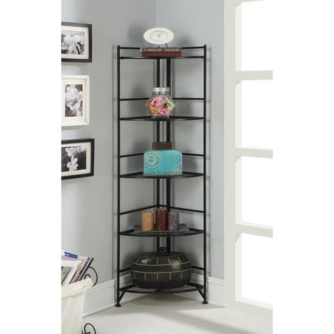 Porch & Den Ferdinand Metal 13.75 x 58-inch 5-tier Folding Corner Shelf