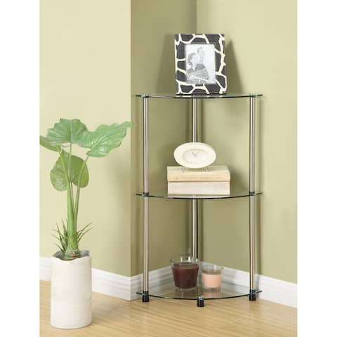 Porch & Den Japonica Classic Glass 3-tier Corner Shelf