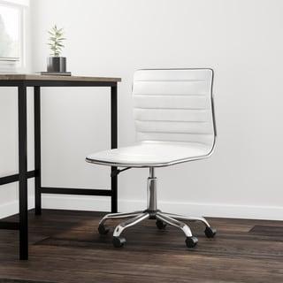 Carson Carrington Olafsvik Swivel Mid Back Armless Ribbed Task Leather White Upholstery Office Chair