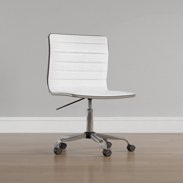 Porch & Den Beacon Hill Myrtle White Leather Swivel Office Chair