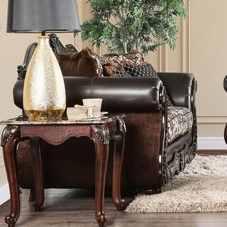 Jamael Opulent Classy Love Seat Traditional Style, Brown
