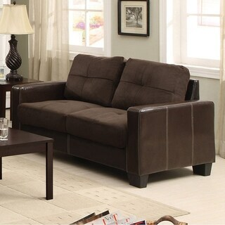 Laverne Contemporary Style Love Seat , Tan, Espresso