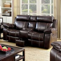 Chancellor Love Seat With Contrast Stitching, Brown