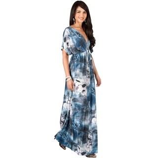 KOH KOH Long Casual Summer Kimono Sleeve Floral Print Maxi Dress Gown