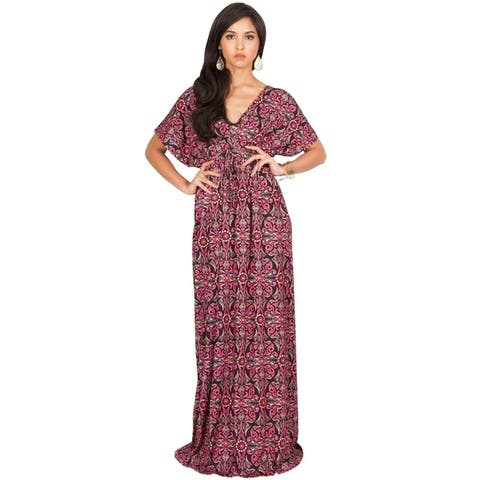 KOH KOH Long Casual Summer Kimono Sleeve Floral Print Maxi Dress Gown