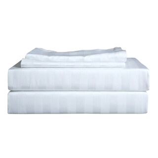 Just Linen 400 Thread Count 100% Egyptian Quality Cotton Sateen, Stripe,Bedding Sheet Set with Deep Pocketed Fitted Sheet