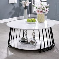 Furniture of America Ergo White Glossy Round Coffee Table
