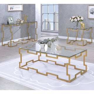 Furniture of America Blaire Contemporary Gold and Glass Coffee Table