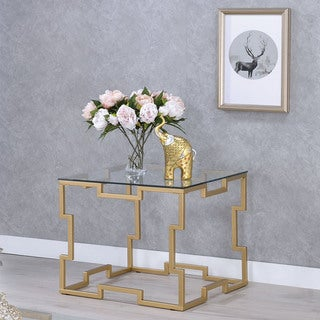 Furniture of America Quir Contemporary Gold Metal Square End Table
