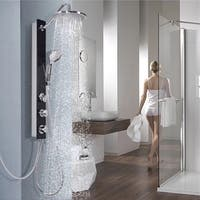Tempered Glass Shower Column Panel Rainfall Body Joints w/Hand&Head