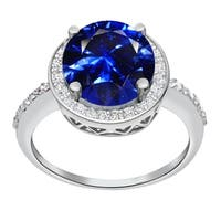 Orchid Jewelry 5.11 Carat Simulated Sapphire & Diamond Sterling Silver Halo Ring - Blue