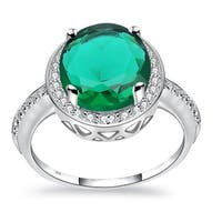 Orchid Jewelry 3.07 Carat Simulated Emerald and Diamond Ring - Green