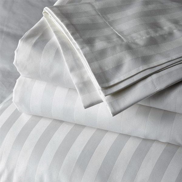 adab4e32d3c0 Just Linen 300 Thread Count 100% Cotton Sateen, Stripe White,Bedding Sheet  Set