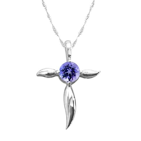 Sterling Silver Natural Tanzanite Cross Pendant Necklace
