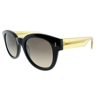 Fendi Round FF 0026 7OA Womens Black Yellow Frame Brown Gradient Lens Sunglasses