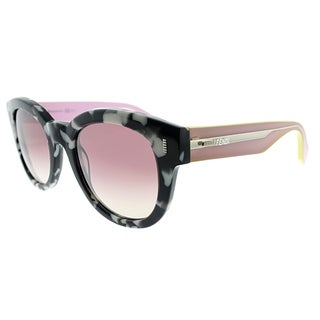 Fendi Round FF 0026 UDL Womens Marbeled Pink Frame Pink Mirror Lens Sunglasses