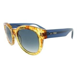 Fendi Round FF 0026 7OC Womens Vintage Amber Frame Blue Gradient Lens Sunglasses
