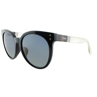 Fendi Round FF 0083/F E6I HD Womens Black Frame Grey Gradient Lens Sunglasses