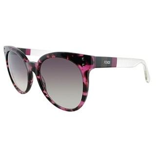 Fendi Round FF 0083/F E7O Womens Fuchsia Havana Frame Brown Gradient Lens Sunglasses
