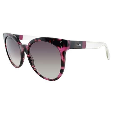 b5e229c35050 Fendi Round FF 0083 E7O Womens Fuchsia Havana Frame Brown Gradient Lens  Sunglasses