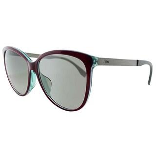 Fendi Square FF 0095/F E0C YE Unisex Red Frame Grey Gradient Lens Sunglasses