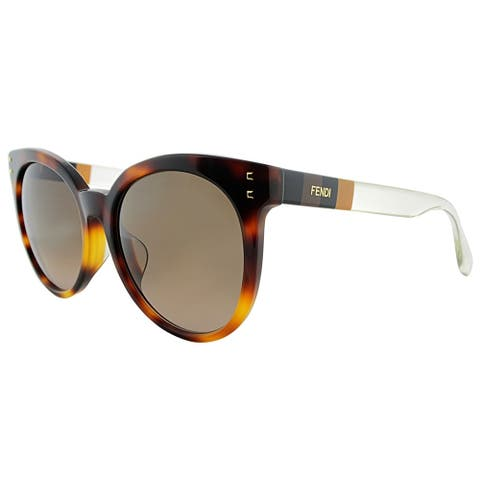 28e2b9b9be2b Fendi Round FF 0083 F E6Z J6 Womens Havana Frame Brown Gradient Lens  Sunglasses