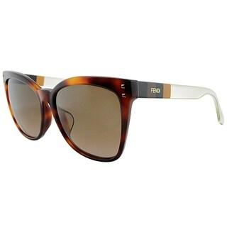 Fendi Square FF 0098/F E6Z J6 Unisex Havana Frame Brown Gradient Lens Sunglasses