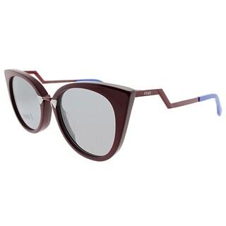 Fendi Cat-Eye FF 0118 ICD Womens Burgundy Frame Grey Lens Sunglasses