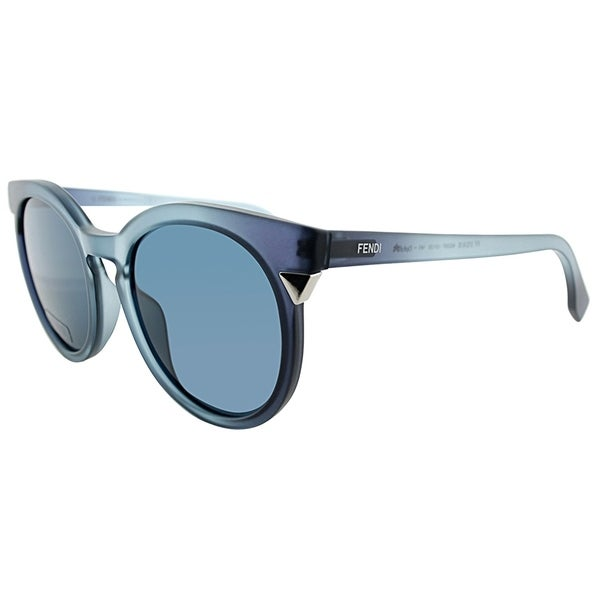 93a6b77b59139 Shop Fendi Square FF 0124 MQS Womens Transparent Azure Frame Blue Gradient  Lens Sunglasses .