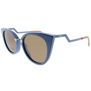 Fendi Cat-Eye FF 0118 ICH Womens Blue Frame Brown Lens Sunglasses