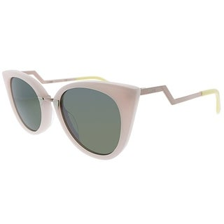 Fendi Cat-Eye FF 0118 ICC Womens Light Pink Frame Green Lens Sunglasses