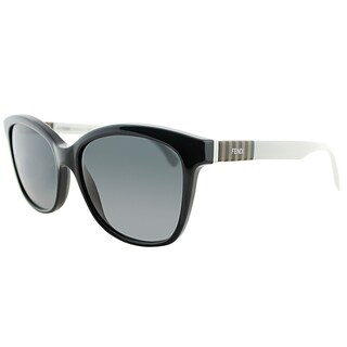 Fendi Rectangle FF 0054 7TX HD Unisex Black Penq White Frame Grey Gradient Lens Sunglasses