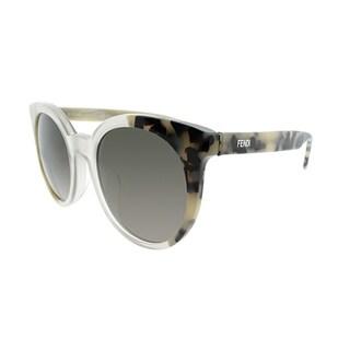 Fendi Round FF 0064 NEA Unisex Tort Beige Clear Frame Grey Lens Sunglasses
