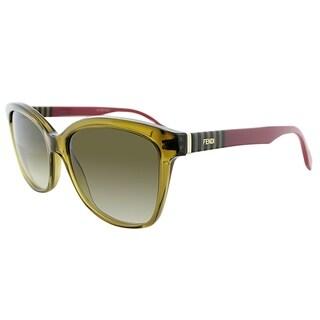 Fendi Rectangle FF 0054 MQZ Unisex Crystal Brown Frame Brown Gradient Lens Sunglasses