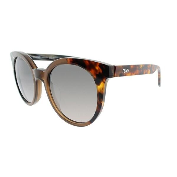 8e99f5d8d7038 Fendi Round FF 0064 NEI Unisex Horn Brown White Horn Frame Grey Gradient  Lens Sunglasses