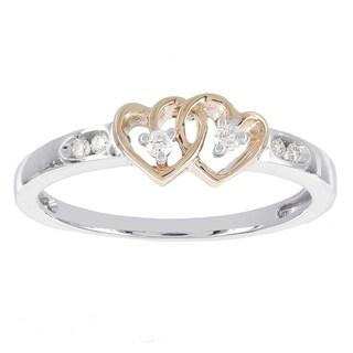 H Star 10k White Gold and 10 Karat Rose Gold Diamond Accent Double Heart Promise Ring (I-J, I2-I3) - White I-J