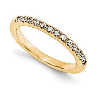 Versil 14 Karat Yellow Gold True Light Moissanite Wedding Band 0 225 Carat