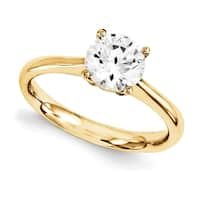 14 Karat Yellow Gold True Light Moissanite Solitaire 1 Carat