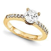 14 Karat Yellow Gold True Light Moissanite Engagement Set 2.14 Carat